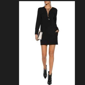 IRO Lace-up wool-blend crepe mini dress size 36